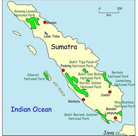 map  sumatra showing  kambas national park