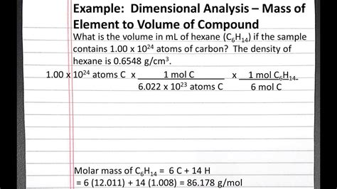 Chemistry 101 Dimensional Analysis, Mass Of Element To Volume Of Compound Youtube