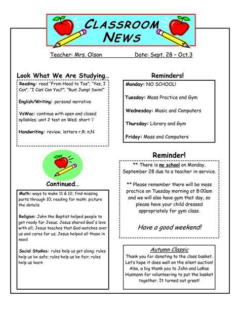 class newsletter template best photos of classroom newspaper template student