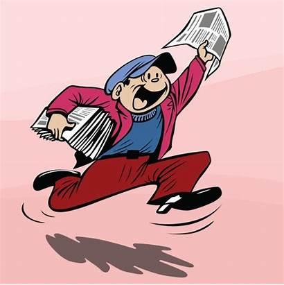 Newspaper Cartoon Boy Clipart Sensation Delivering Delivery