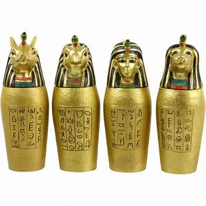 Set Of 4 Egyptian Gold Canopic Jars Ancient Egypt Egyptian