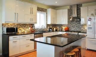 impressive kitchen decorating ideas with white cabinet and bamboo floor using glossy black
