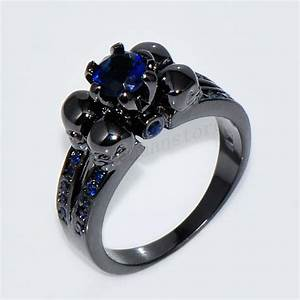 gothic skull blue sapphire engagement ring women men39s With womens gothic wedding rings
