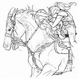 Barrel Racing Coloring Printable Adult Line Yahoo Horse Papers Horses Rodeo Paper Character Printables sketch template