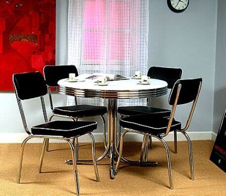 Retro Round Chrome Table And 4 Black Chairs 50's Kitchen