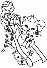 Summer Cats Playground Coloring Pages Drawing sketch template