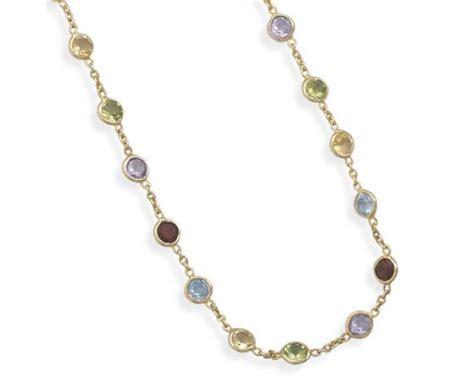 multi gemstone necklace 14k gold multi gemstone necklace