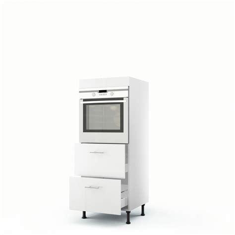 meuble de cuisine demi colonne blanc four 2 tiroirs h 140 x l 60 x p 56 cm leroy merlin