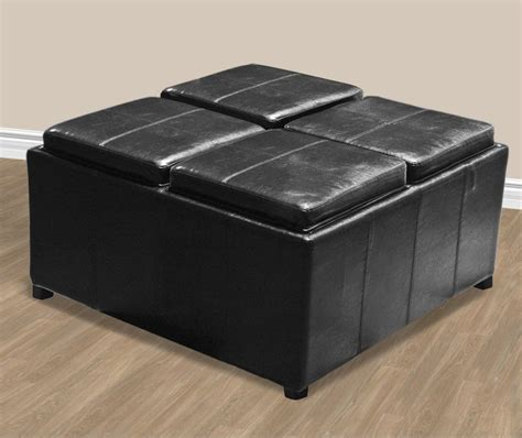 Square Black Leather Ottoman Coffee Table With Storage