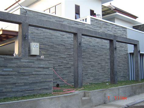 desain pagar rumah minimalis  batu alam terbaru