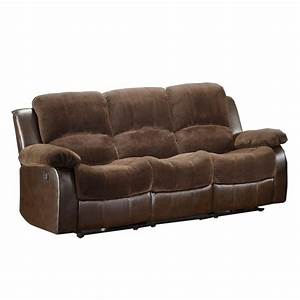 homelegance cranley double reclining sofa in brown With microfiber reclining sofa