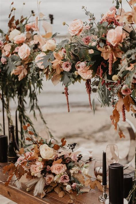This Moody Fall Wedding Table Scape Complete With