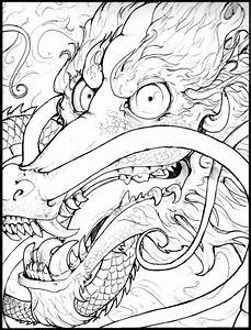 japanese art coloring pages - chinese dragon tattoo style by anarchpeace on deviantart