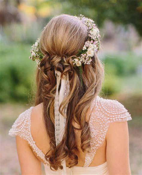 wedding hairstyles half up half tulle chantilly wedding