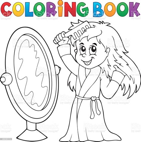 Coloring Book Girl Combing Hair Theme 1 Stock Illustration