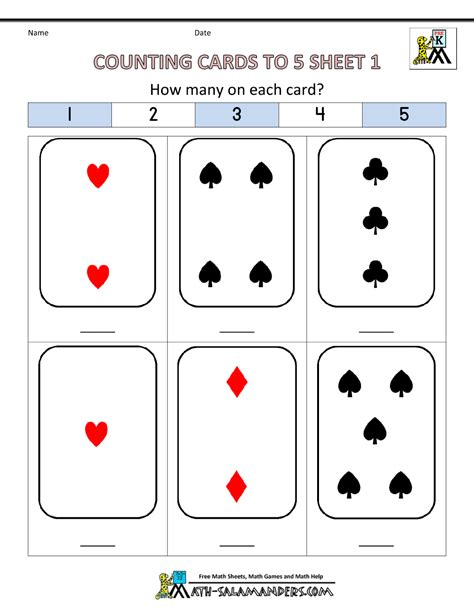 pre k worksheets counting cards to 5 1 math