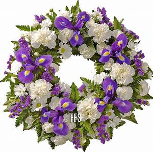 Blue and White Floral Wreath - Send a Funeral wreath to ...