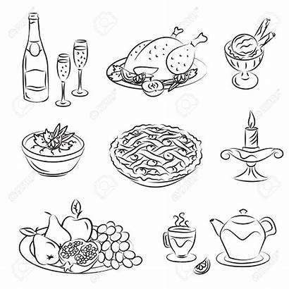 Dinner Drawing Christmas Getdrawings