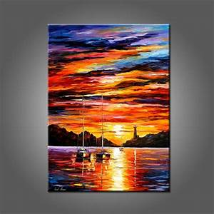 Suset Landscape Oil Painting On Canvas Beautiful Sunrise