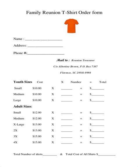 sample  shirt order forms  ms word  excel