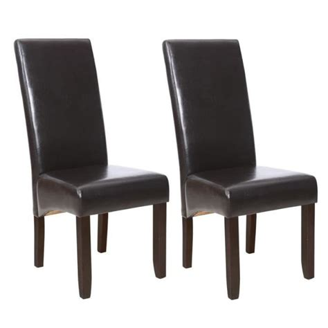 lot chaises salle à manger cuba lot de 2 chaises de salle à manger marron achat vente chaise polyuréthane bois