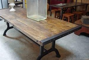 Table Industrielle Bois : table industrielle ~ Teatrodelosmanantiales.com Idées de Décoration