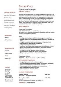 curriculum vitae operations manager operations manager resume description exle template sle work projects resources