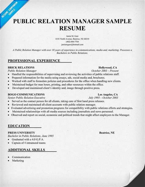 relation manager resume sle pr resume