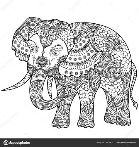 Mandala Kleurplaten Olifant by Olifant Illustratie Kleurplaat Doodle Stockvector