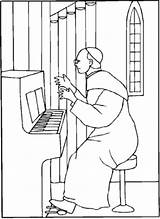 Organ Church Coloring Pope Playing Printable sketch template