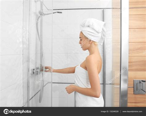 Getting In Shower Beautiful In Towel Going To Shower Stock