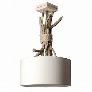 Lampe Chevet Bois Flotté : suspension bois et corde abat jour beige en vente sur lampe avenue ~ Melissatoandfro.com Idées de Décoration