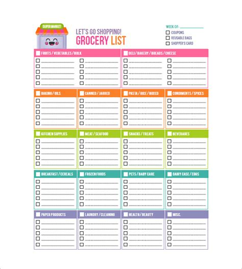 grocery checklist template 8 blank grocery list template free word excel pdf