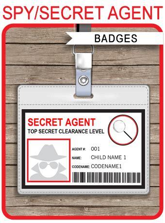 spy  secret agent badge template red spy party spy