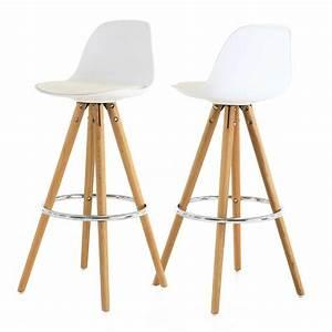 Chaise Bar Bois : chaise haute de bar blanche tr pied en bois style scandinave zago store ~ Teatrodelosmanantiales.com Idées de Décoration