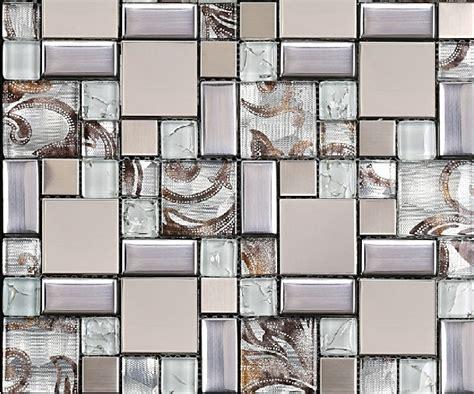 Metal And Glass Tile Backsplash : Glass Mosaic Tile Backsplash Ssmt111 Silver Metal Mosaic
