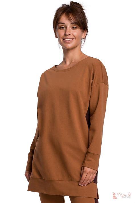 Ilgas džemperis su juostele Bilita (rudas) - Popi.lt