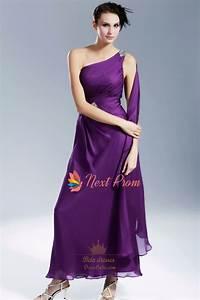 Violet Purple Prom Dress, Purple One Shoulder Chiffon ...