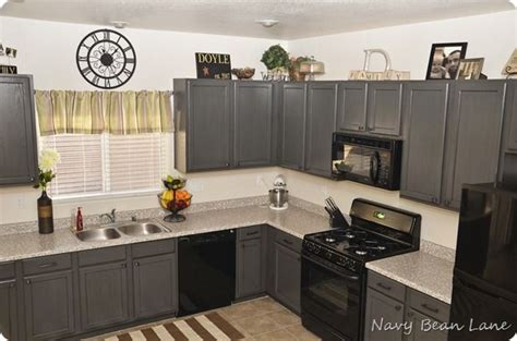 grey and black kitchen cabinets gray cabinets and black appliances s kitchen 6950