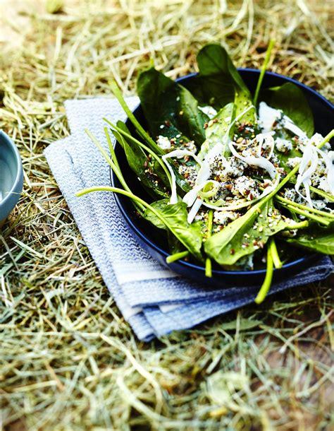 cuisiner un choux chinois salade d épinards au bleu et aux graines pour 6 personnes