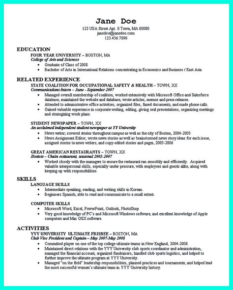 College Resume Template by The College Resume Template To Get A