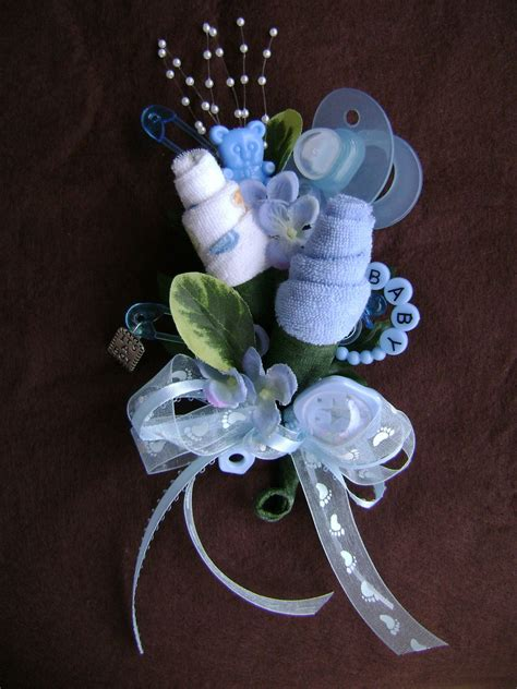 Baby Shower Pins For Corsages Baby Shower Corsage Baby Boy Washcloth Corsage 15 00