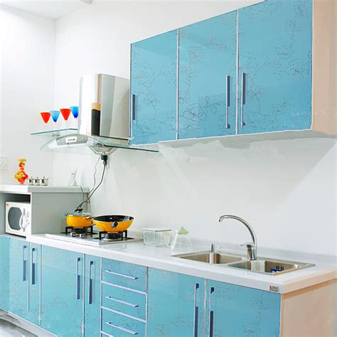 stickers meubles cuisine yazi gloss blue flower pvc waterproof wall sticker kitchen