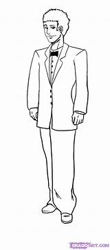 Groom Drawing Draw Tuxedo Outline Step Drawings Steps sketch template