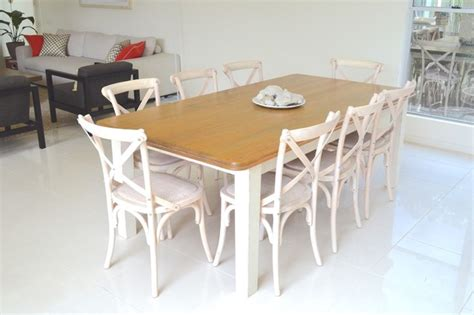 white wash cross back chairs and country style table