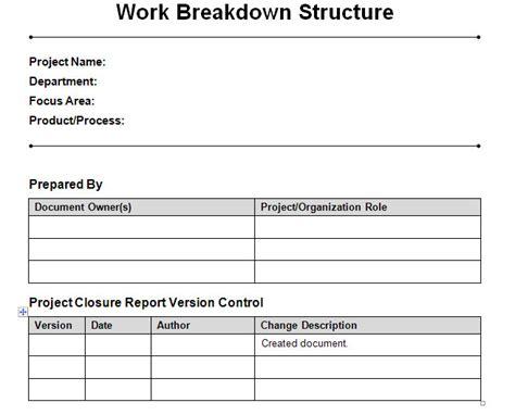 work breakdown structure word template work breakdown
