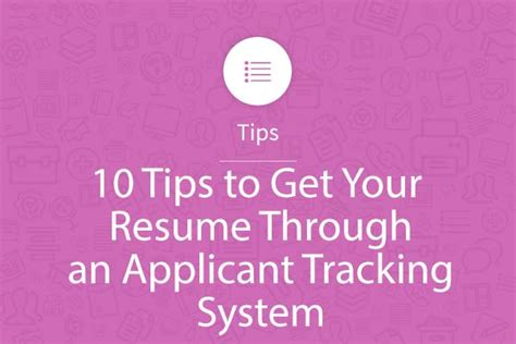 Applicant Tracking Systems For Automated Resume Screeners by 10 Tips To Get Your Resume Through An Applicant Tracking System Myperfectresume