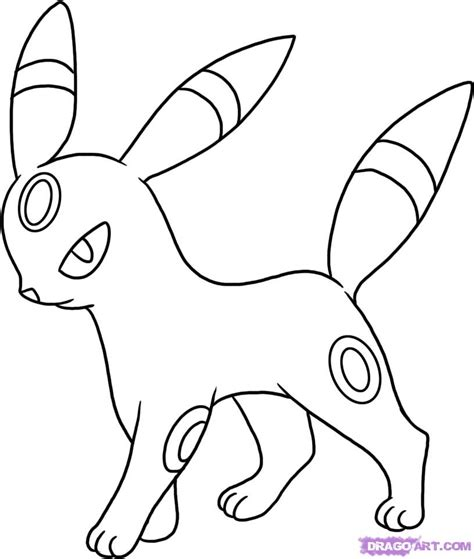 draw umbreon step  step pokemon characters