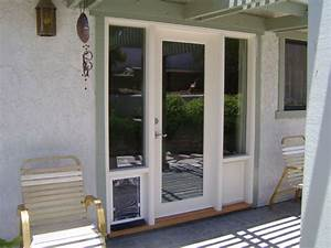 patio doors with built in dog door With outside door with built in dog door