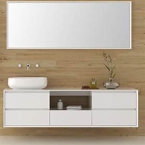 Miroir Meuble Salle De Bain : snow meuble salle de bain 180 cm laqu blanc avec vasque et miroir ~ Teatrodelosmanantiales.com Idées de Décoration